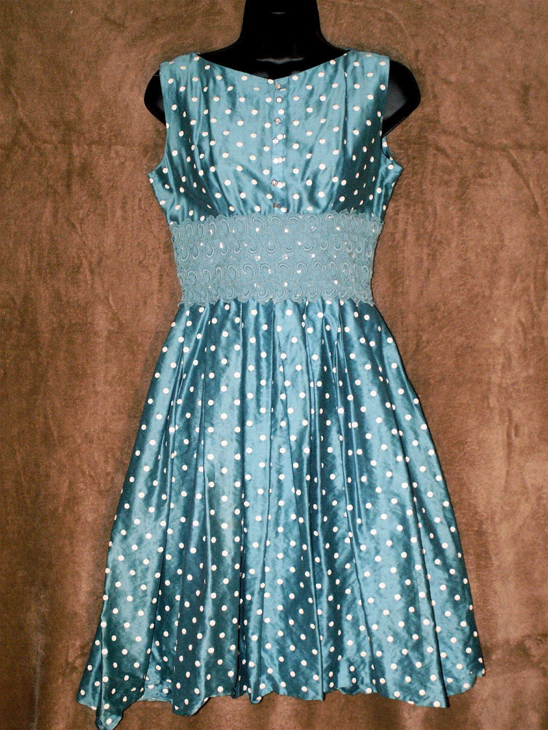 SALE Hand sewn Vintage 50s Lovely Turquoise Polksdot party dress ...