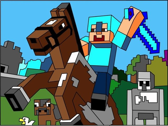 Minecraft Horse and Rider coloring picture for kids (com ...
