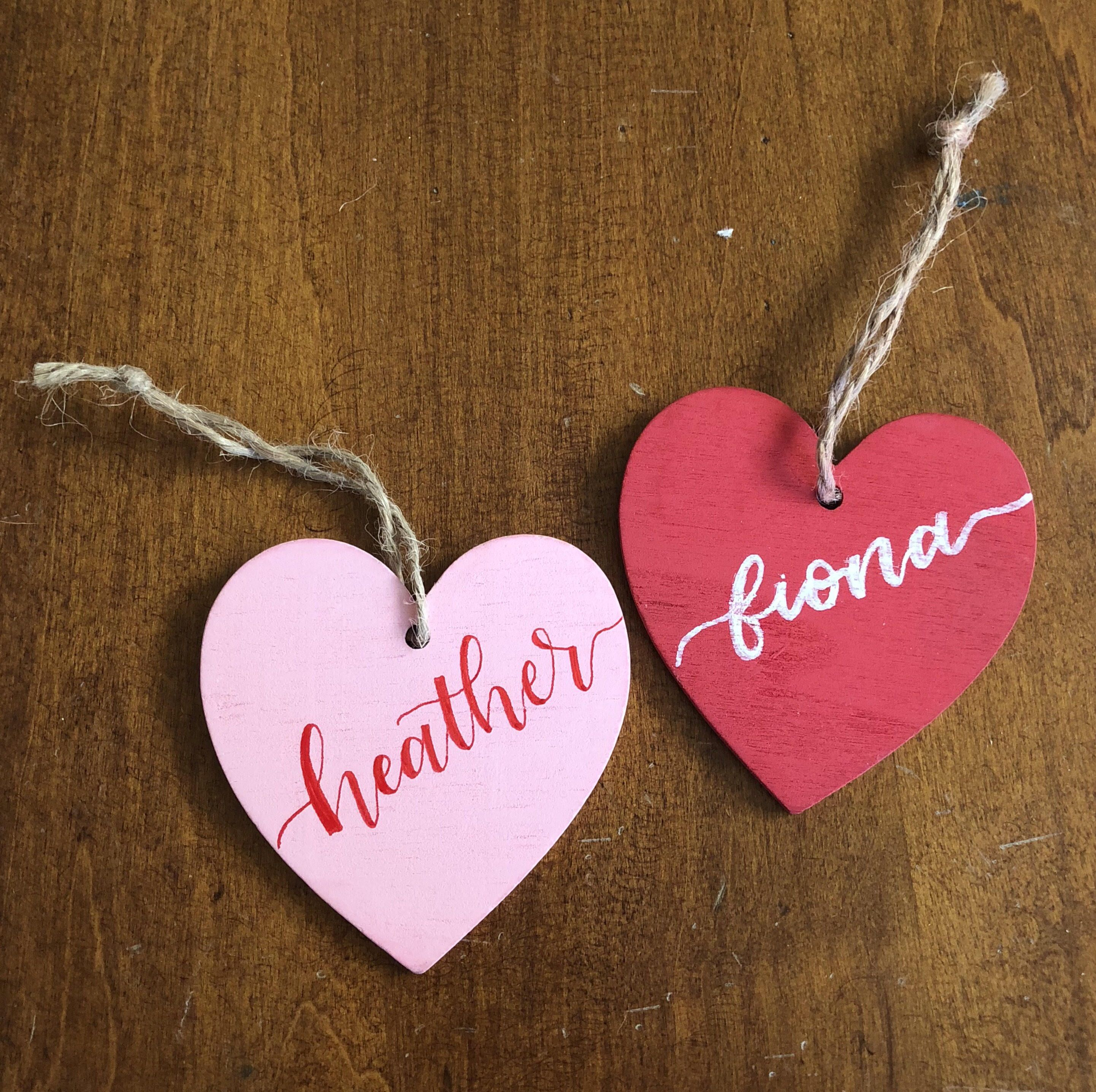 Personalized Red And Pink Wooden Heart Gift Tags Calligraphy Gift