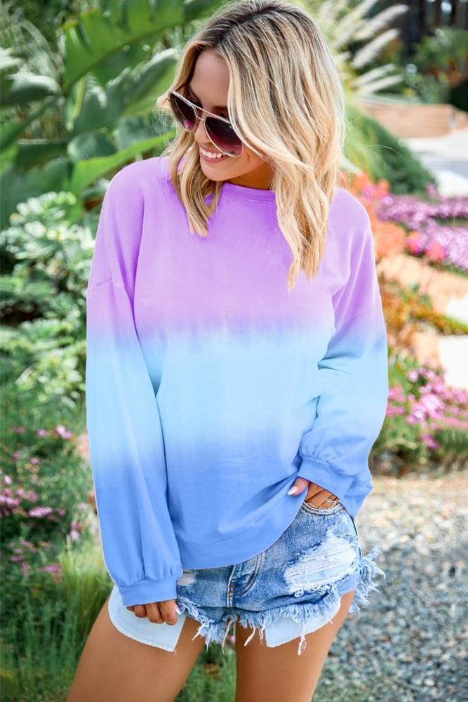 Sweatshirts for Women Loose Fit Tie-dye O-Neck Gradient Long Sleeve Shirt Pullover Sweatshirt Blouses Pullover Tops