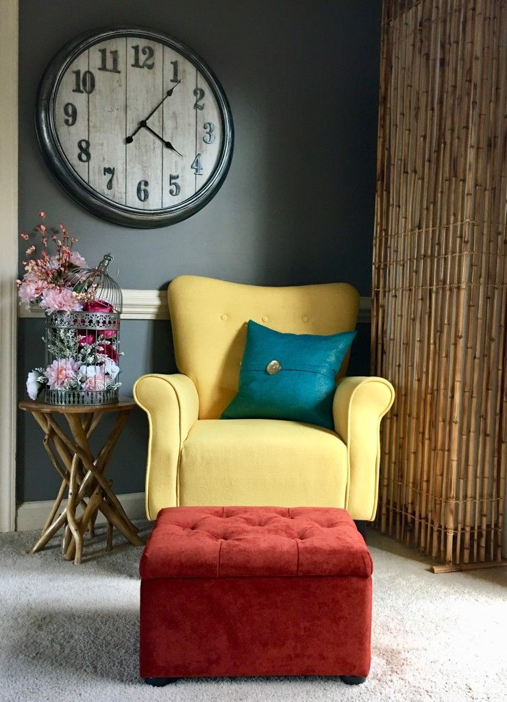 Colorful Decor Living Room- Yellow, Teal, Rust, Gray, Pink and ...