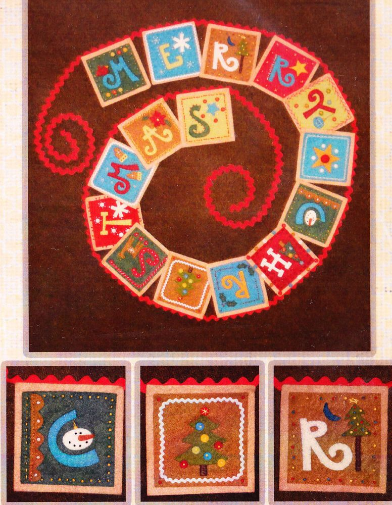 PATTERN - Merry Christmas Banner - simple applique wool felt banner PATTERN
