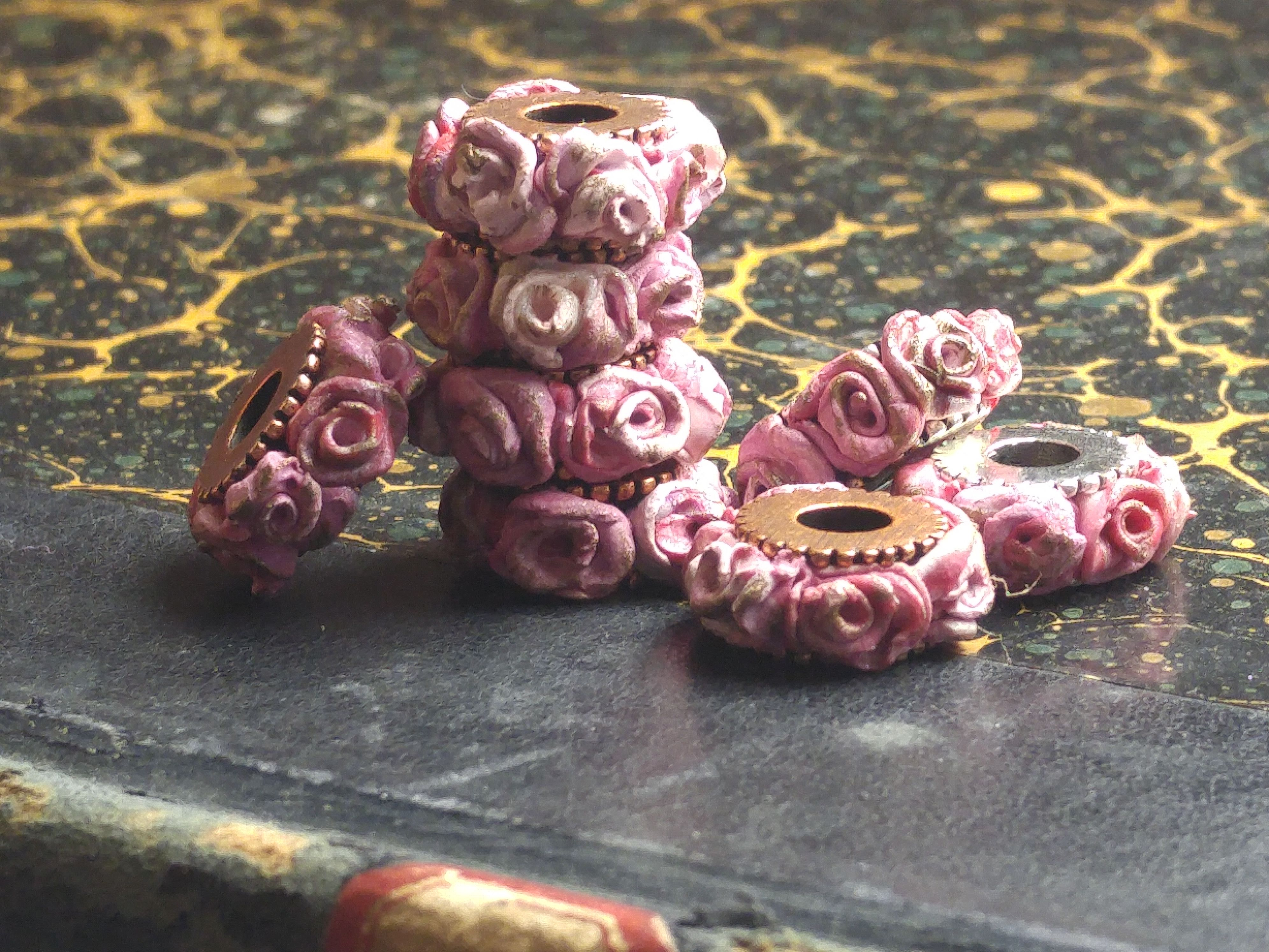 Gather Ye Rosebud wheel beads inspired by the painting Two Crowns by Sir Frank Dicksee.