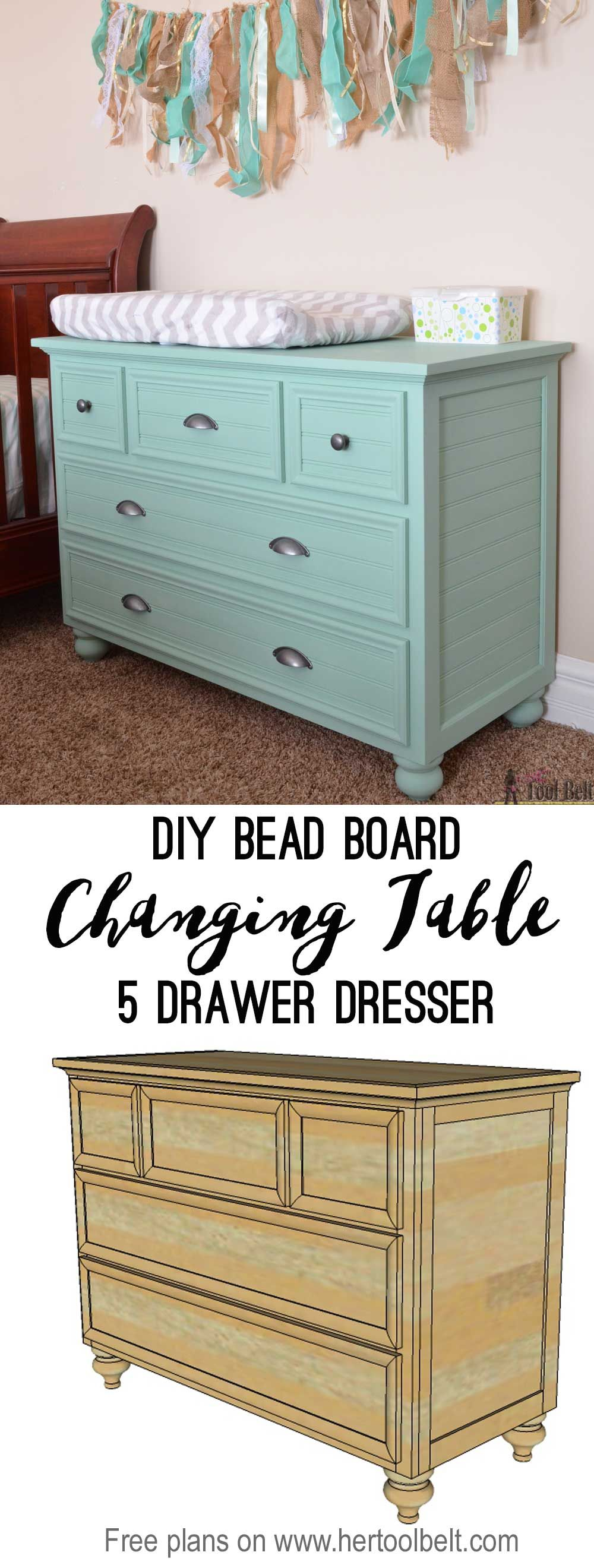 5 Drawer Dresser Changing Table | Sofá de palé, Bricolaje fácil y ...