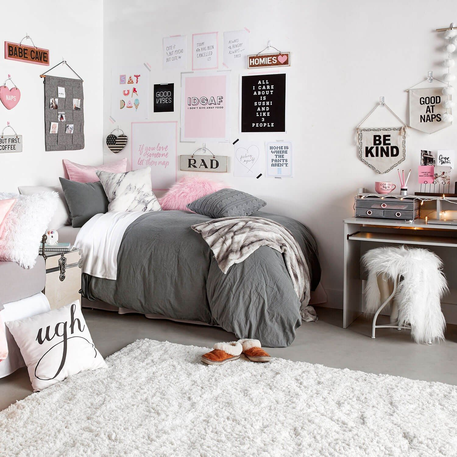 Image result for gray bedding ideas for girls dorm #girldorms
