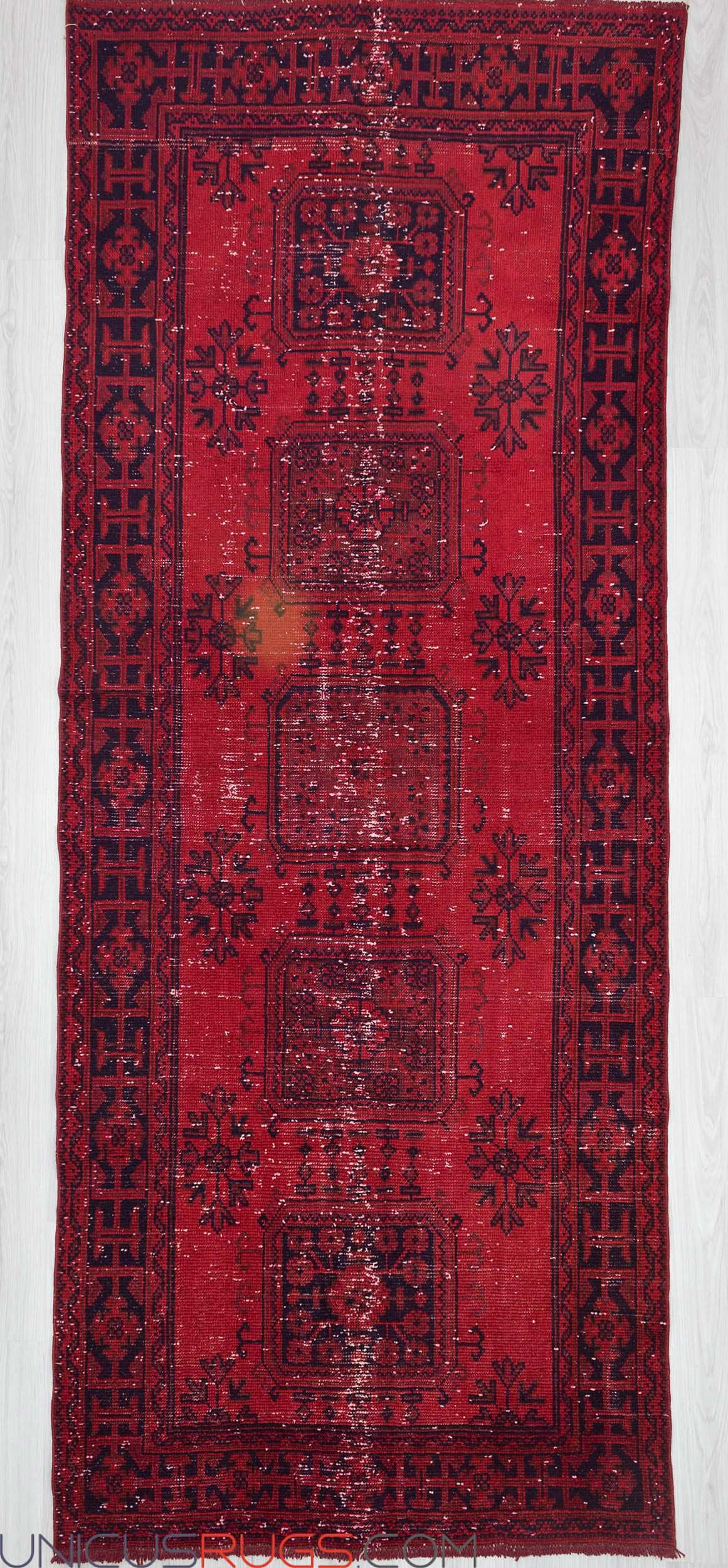 "Vintage hand-knotted decorative over-dyed wide red Turkish runner from Oushak region of Turkey. In good condition. Approximately 40-50 years old. Wool on wool Width: 4' 5"" - Length: 11' 3"" OVERDYED RUGS"