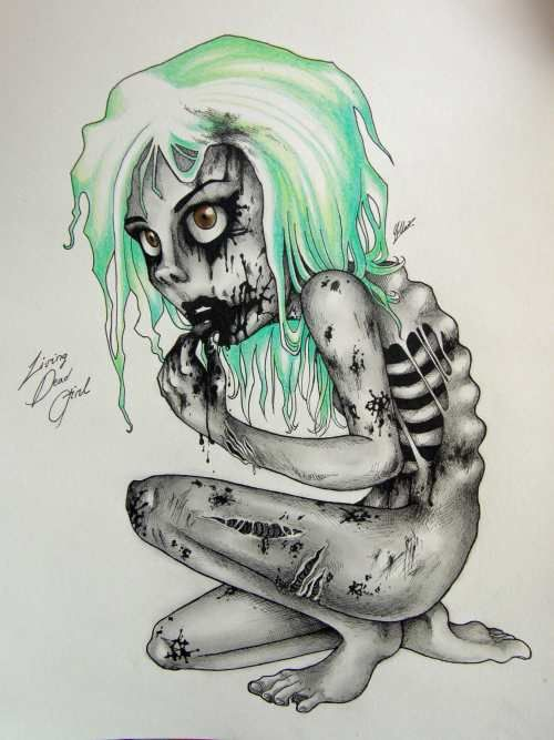 Zombie Drawings By Super Chi Zombie Drawings Creepy Drawings Zombie Girl Tattoos