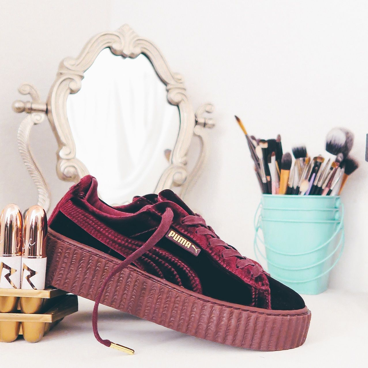 puma suede creepers bordowe