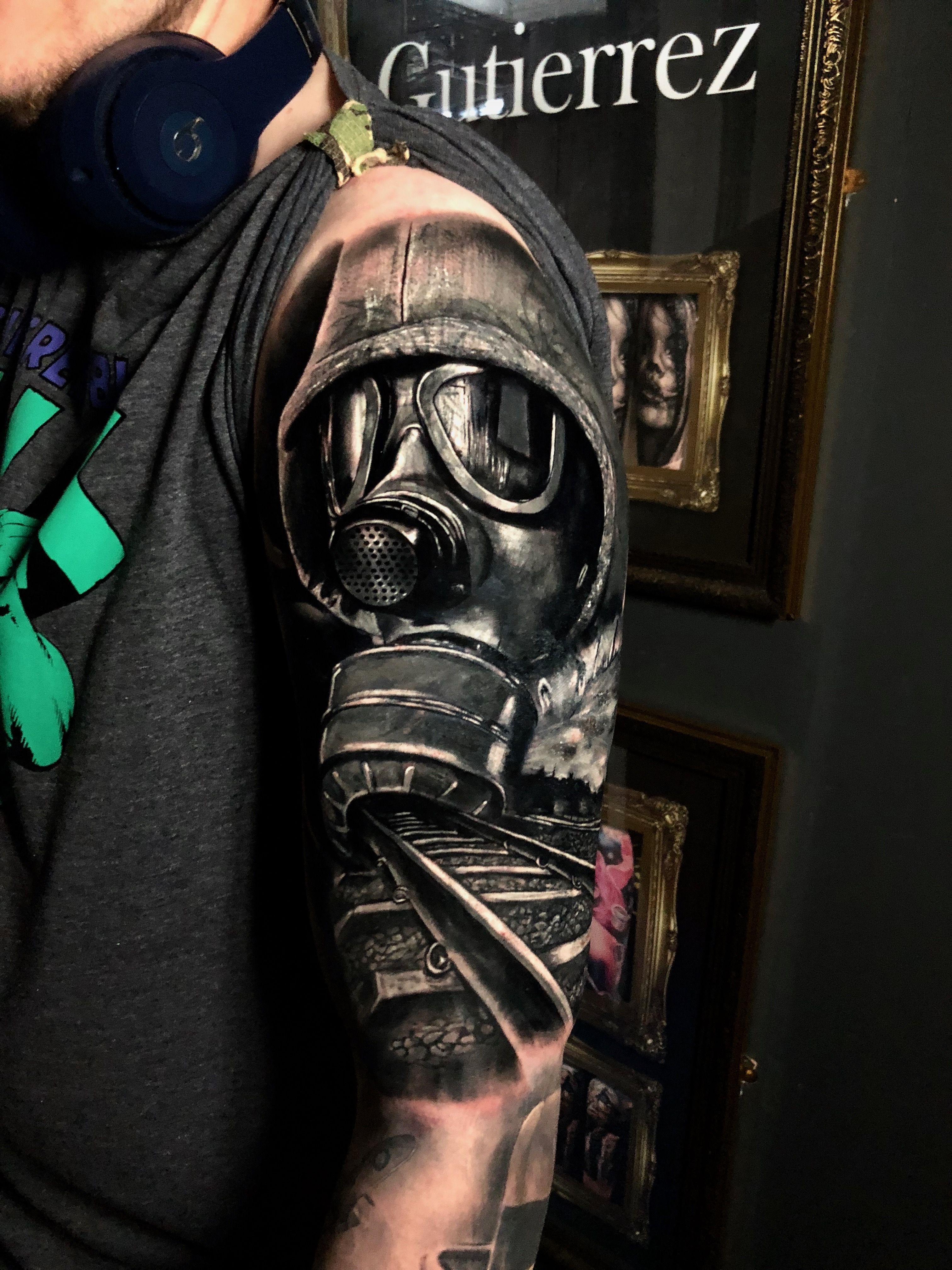 Gas mask cover up tattoo by seb limited availability at