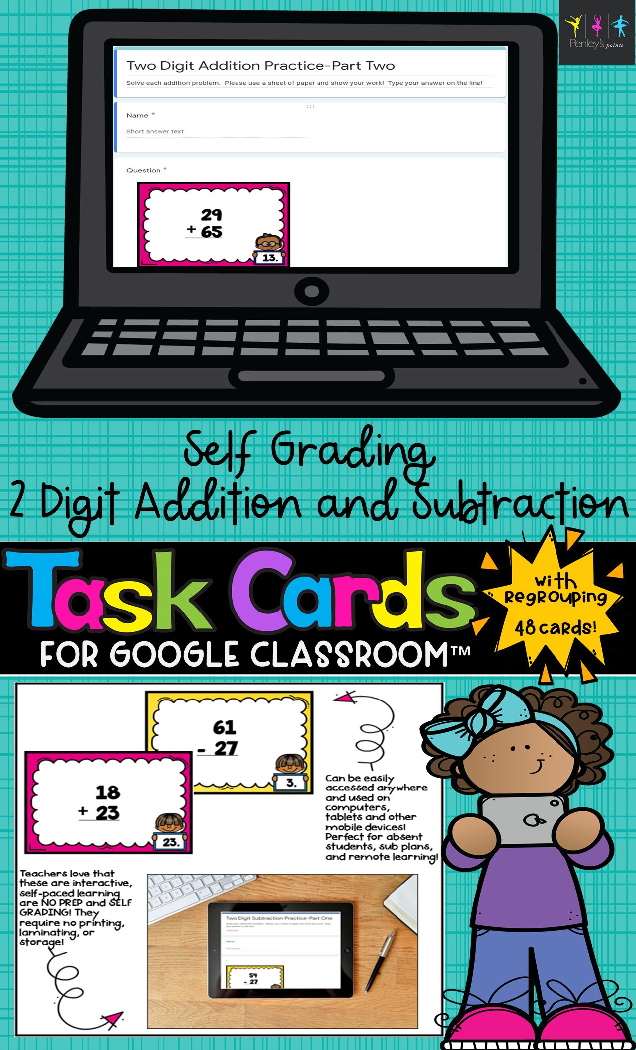 Self Grading 2 Digit Addition And Subtraction Task Cards