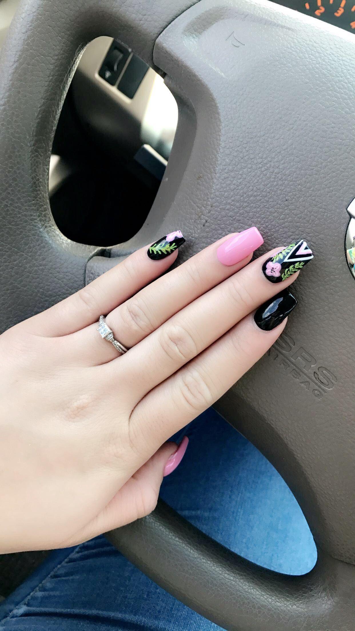 Vacation nails Pink and black nails Coffin nails Acrylic