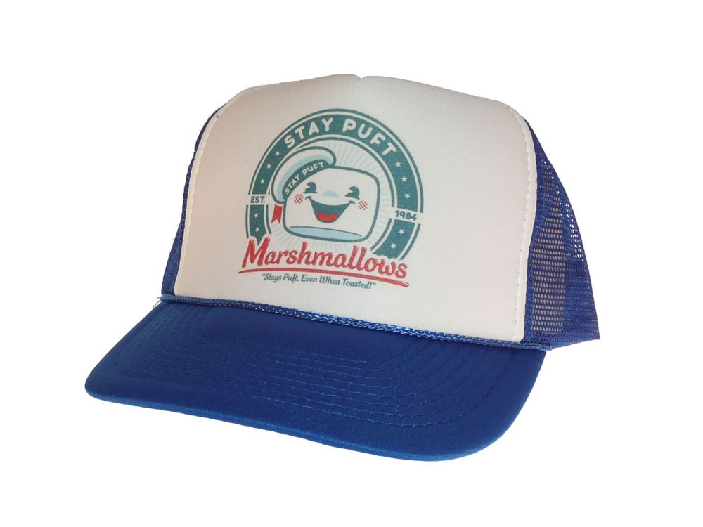 e0e224b8d1b Vintage Stay Puft Marshmallows hat Trucker Hat Free Shipping Ghostbusters  Blue  Unbranded