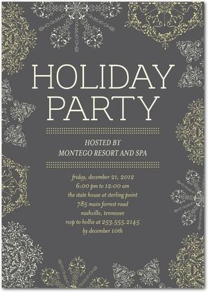 Corporate Holiday Party Invitations Embroidered Snowflake Front Charcoal