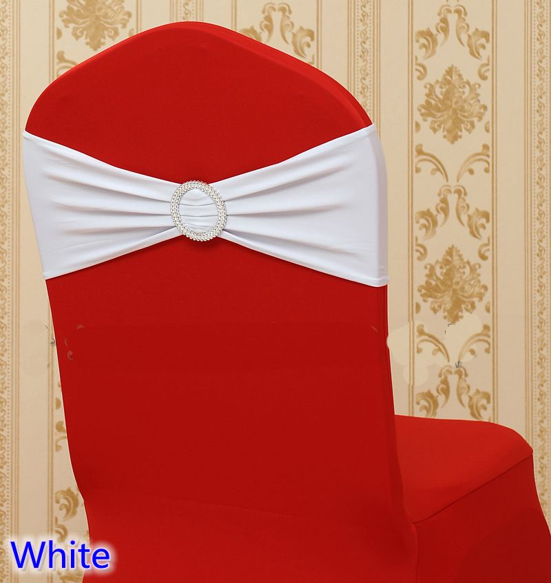 LIGHT PINK SPANDEX Double Bow Lycra BAND for Chair Cover Decor Sash Round Buckle