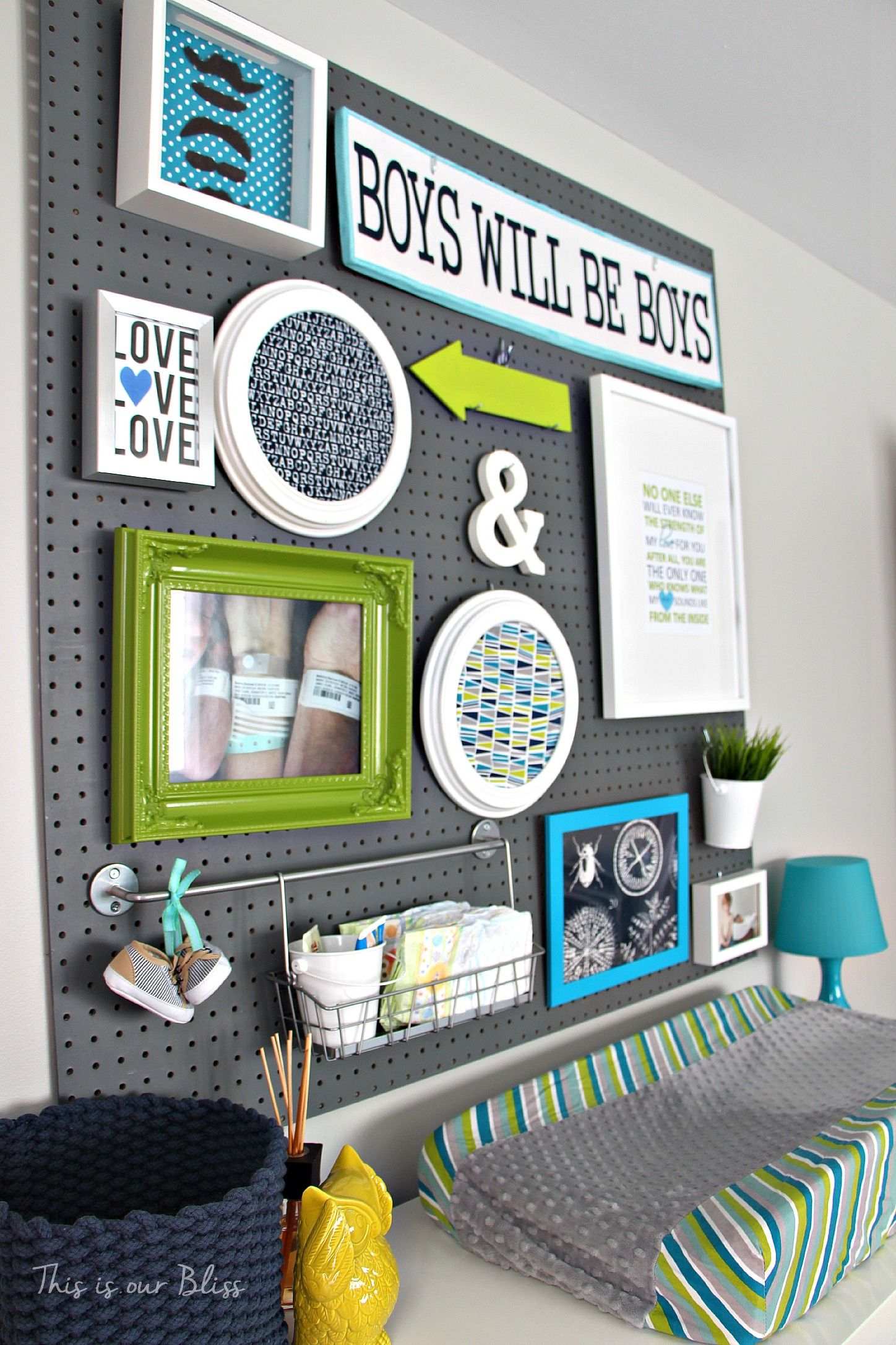 Little Boy Nursery Pegboard Gallery Wall