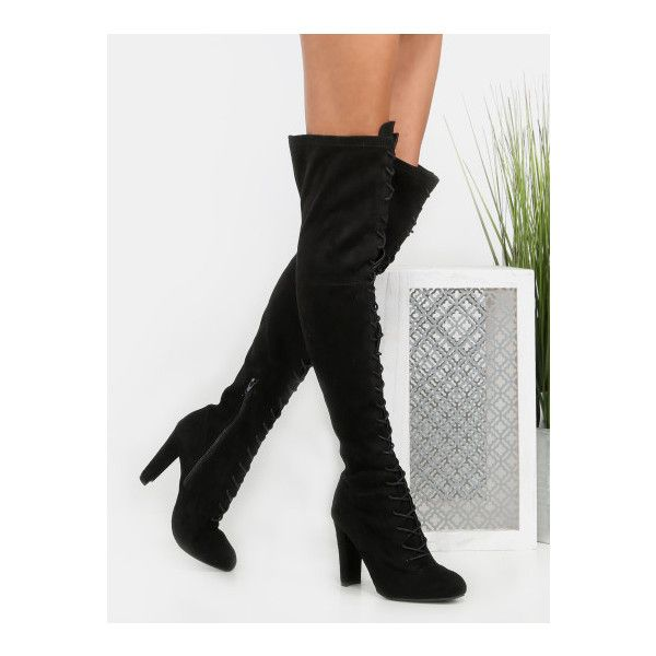 a085d1f6620 SheIn(sheinside) Faux Suede Lace Up Knee High Boots BLACK ( 56) ❤ liked on  Polyvore featuring shoes