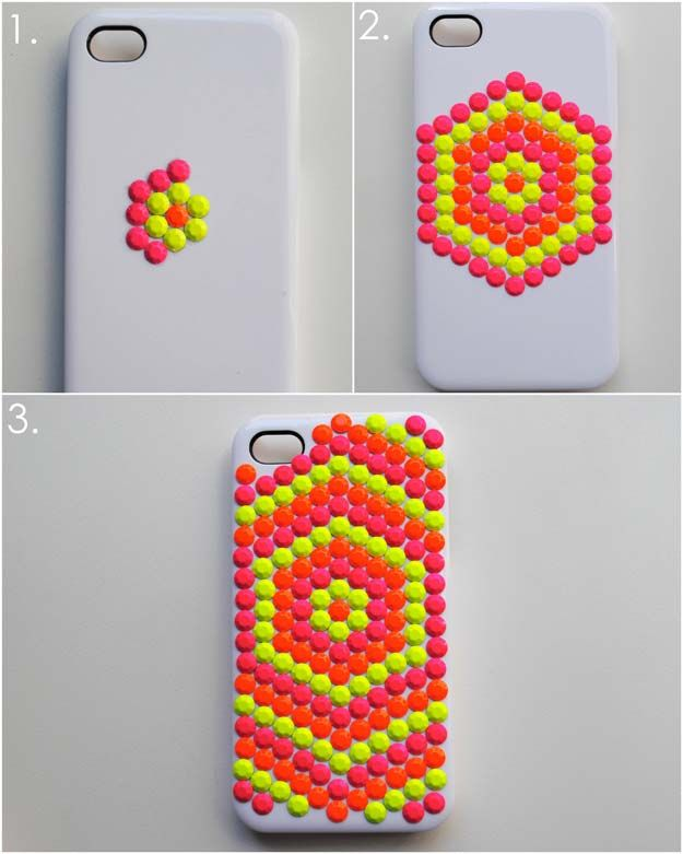 c6941557c7 DIY iPhone Case Makeovers - Neon Studded Phone Case - Easy DIY Projects and  Handmade Crafts