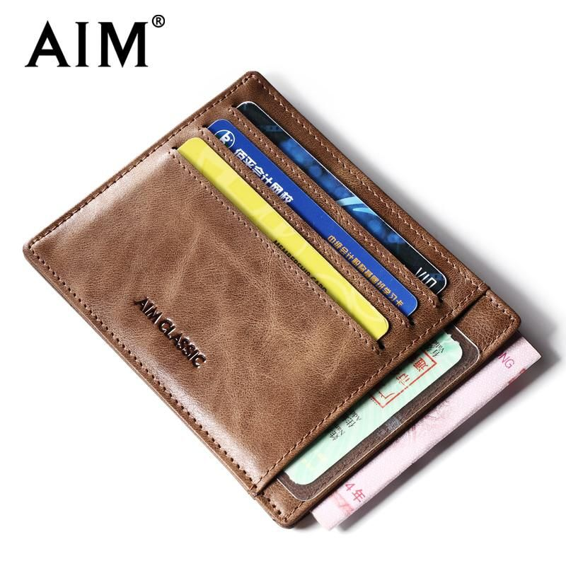 Genuine Leather Small Classic Credit Card Holder Mini Slim Thin Wallet Brown New