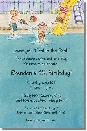 Boys Swim Pool Party Invitations 10th Birthday