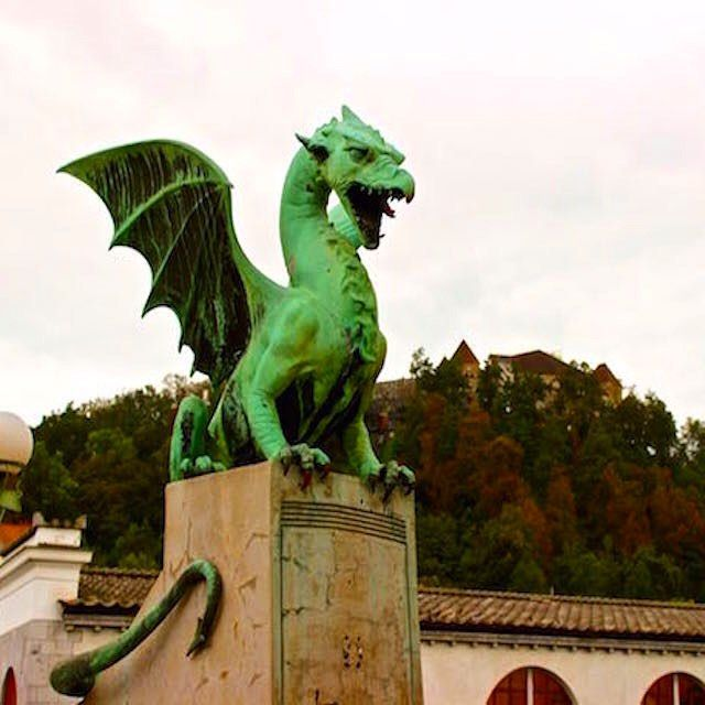 Ljubljana, Slovenia ____________ Ljubljana, Slovenia is an undiscovered gem in Europe. Few tourists, lots of beautiful architecture, and a town full of ambiance... and DRAGONS everywhere!  The dragon is the symbol on the Ljubljana coat of arms and flag an