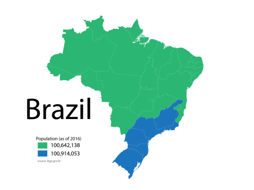 Brazil Split Into 2 Areas Of Equal Population South America Map Map Cartography