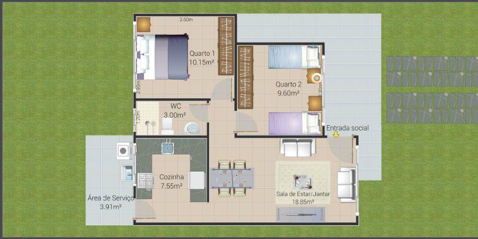 Plano de casa econ mica de dos dormitorios tiene moderna for Casa minimalista 2 dormitorios