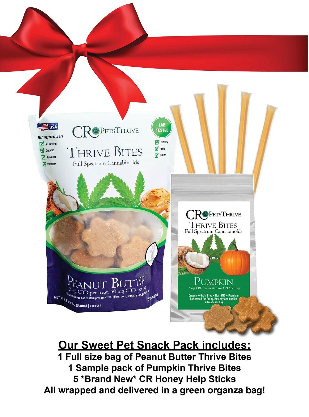 AllNatural pet snack pack with peanut butter, pumpkin and