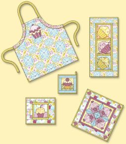 Cupcake quilt, apron etc sampler
