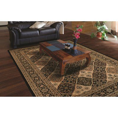 "Astoria Grand Hampstead Noir/Cream Area Rug Rug Size: 5'3"" x 7'6"""