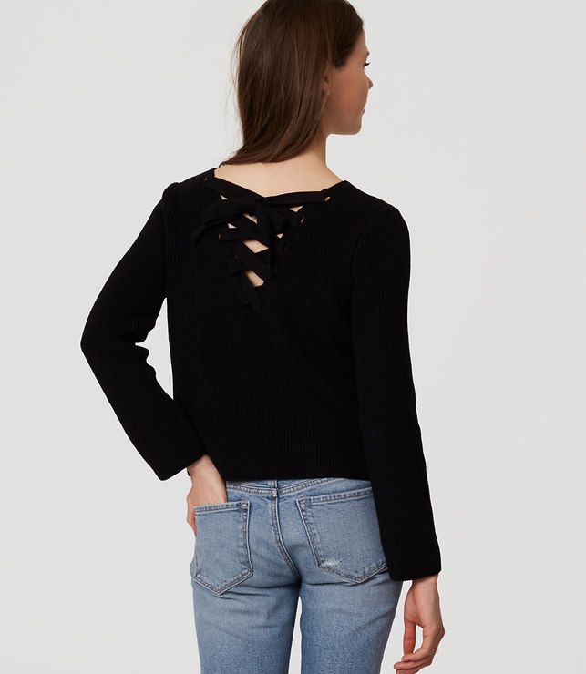 22e800a81d8345 Thumbnail Image of Color Swatch 2222 Image of Lace Up Back Sweater ...