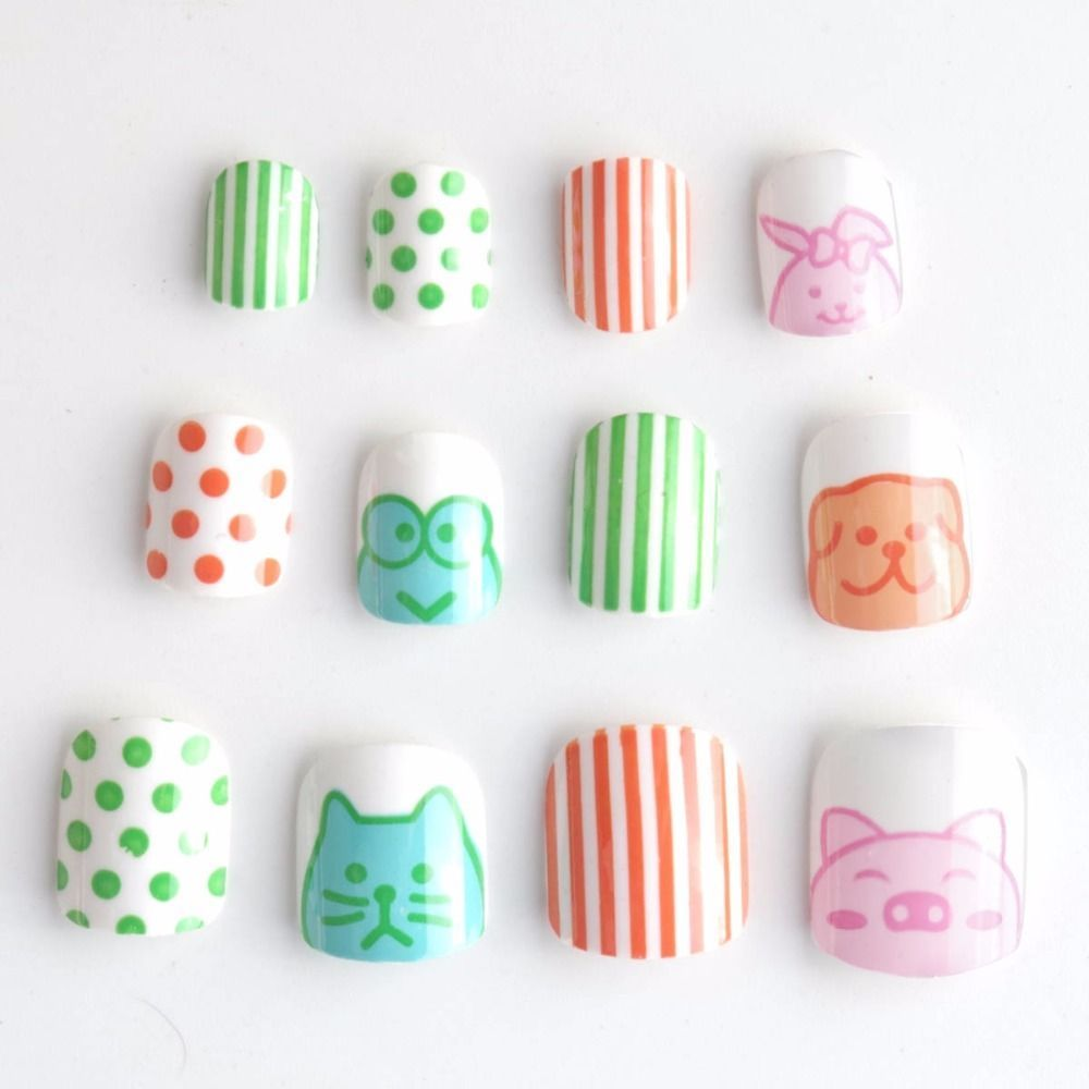 Cute Animals Kids Fake Nails 24Pcs Cat Pig Spot Lines Pre-Glue Press ...