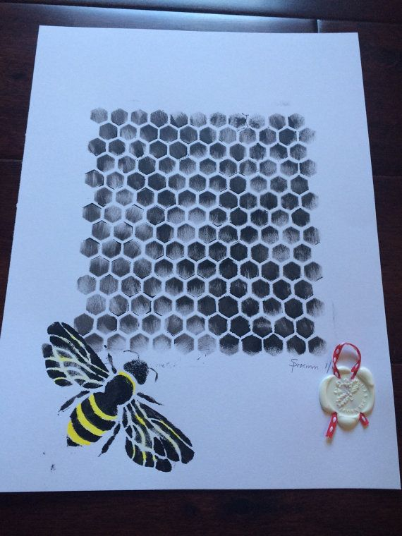 Beehive Guard   Original fresh painting by by AcornBee on Etsy
