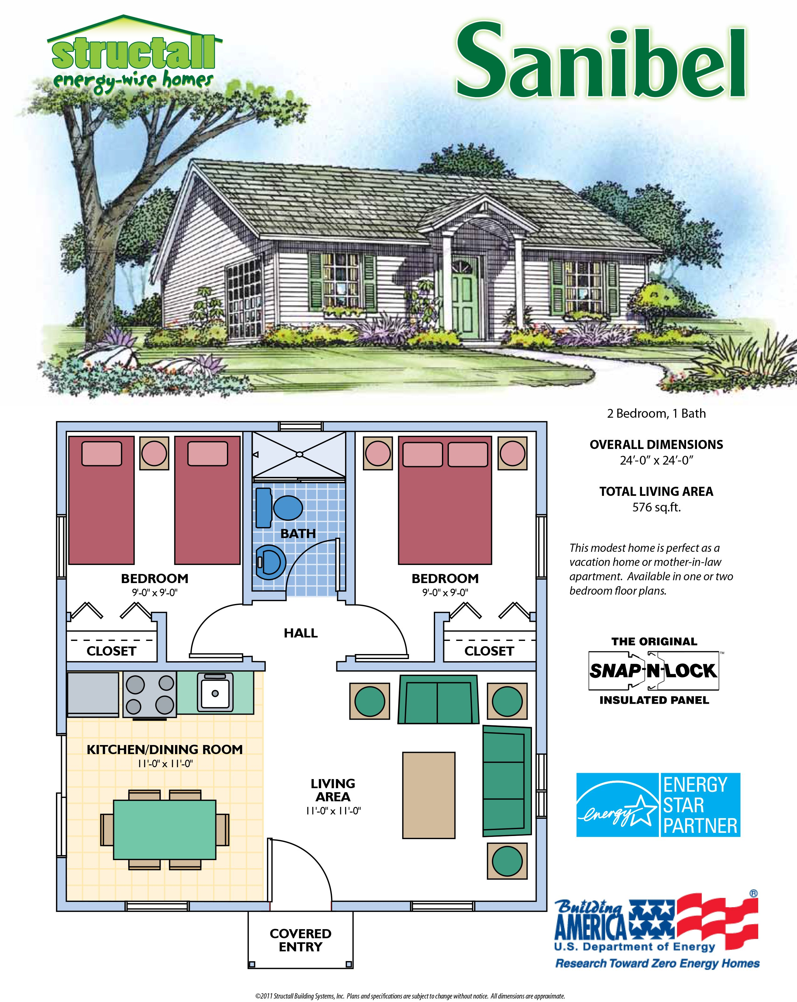 2 Bedroom 1 Bath Total 576 Sq Ft This Modest Home Is Perfect As A Vacation Home Or Mo Cottage Style House Plans Small Cottage Plans Two Bedroom Floor Plan