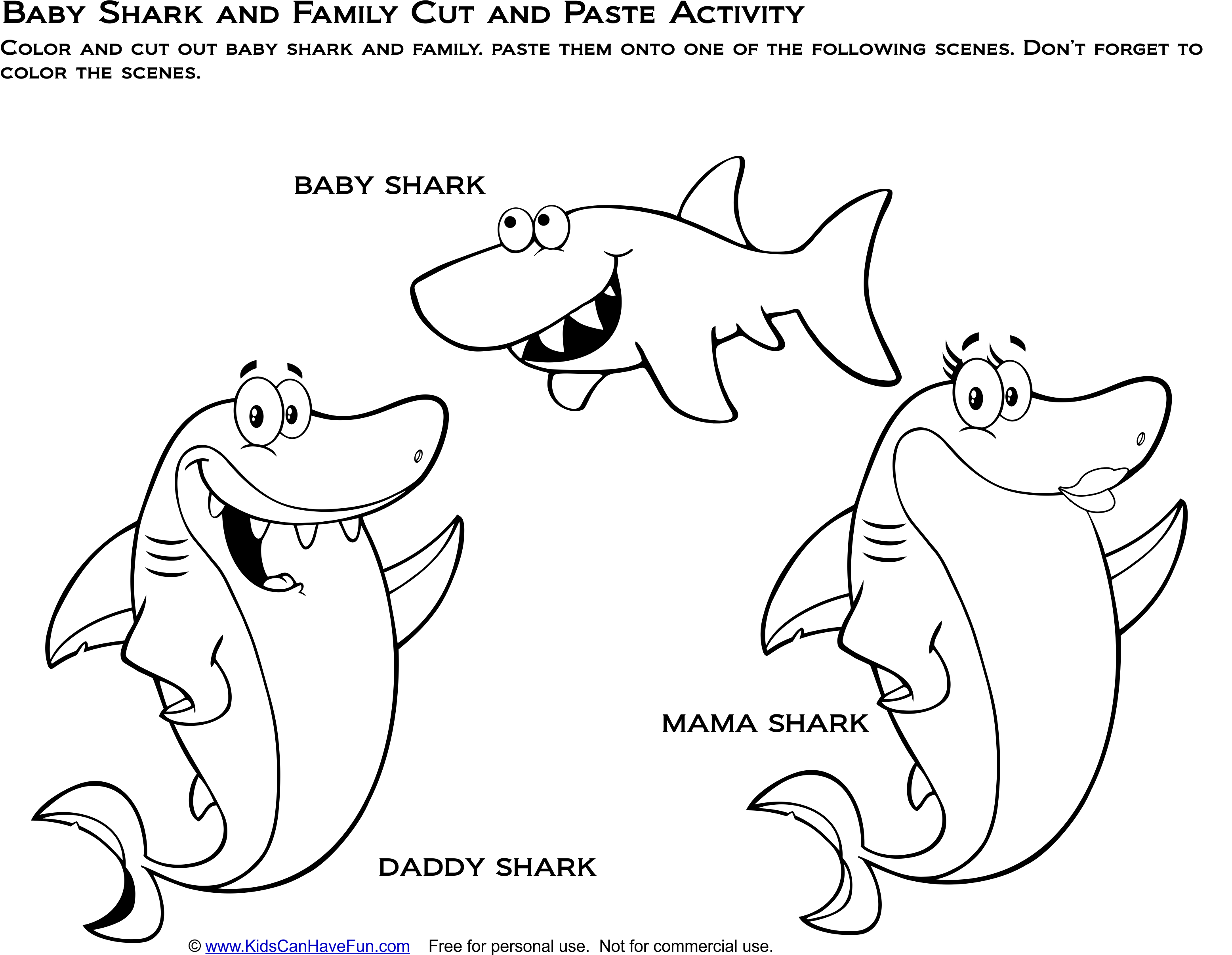 Baby Shark And Family Cut And Paste Activity Cut Out The