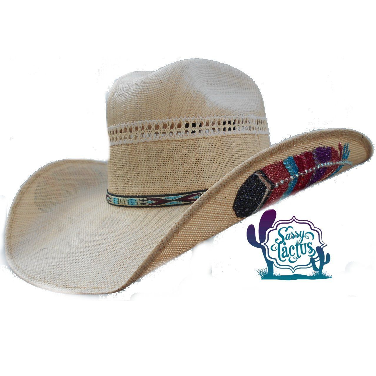 034159cc582 Rhinestones and glitter make up the Native American inspired feather design  on both sides of this pretty straw cowboy hat by Bullhide Hat Company.