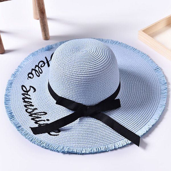 3cf468f4b Women Summer Foldable Wide Brim Panama Straw Hat Embroidery Letter ...