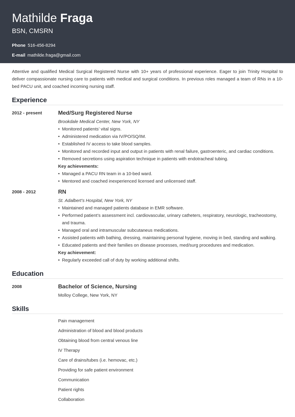 med surg nurse resume example template influx in 2020
