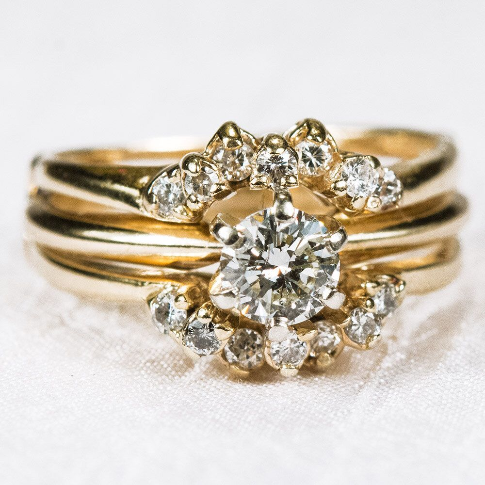 Vintage Diamond Wedding Ring 14k Gold Solitaire Engagement Sleeve Band Set By TanyasTreasuresNE On