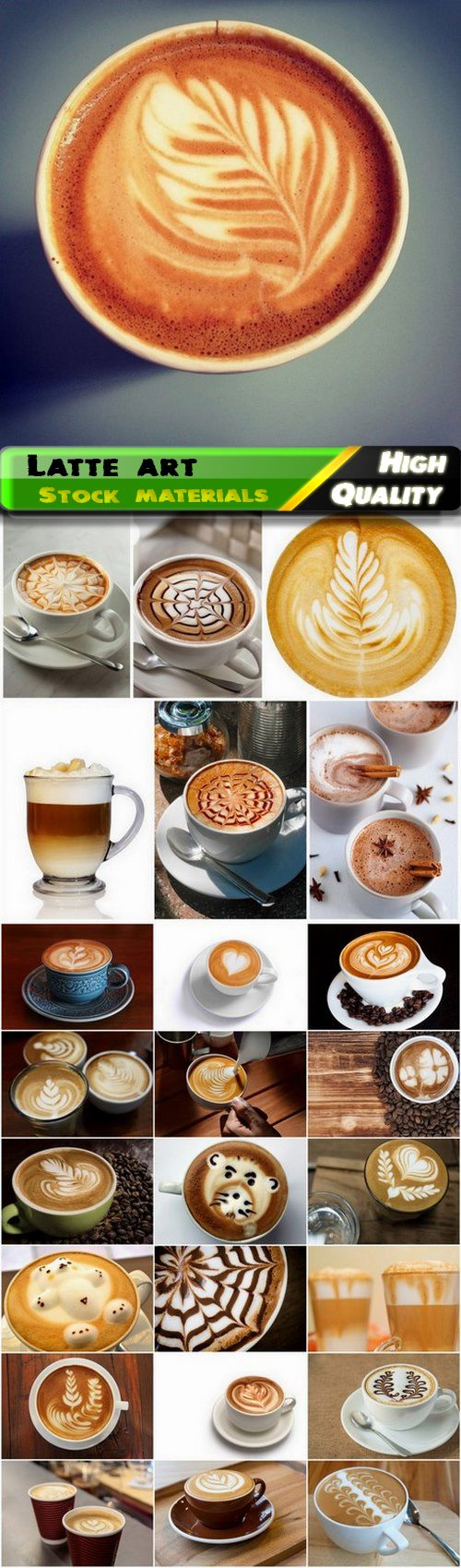 Coffee with milk and latte art - 25 HQ Jpg