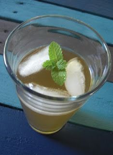 A touch of Shassy:    Mint infused Vanilla Soda.  No calories!