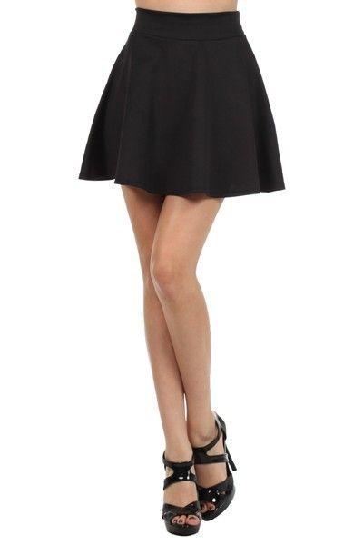 d6111a981f Sexy High Waist Short Jersey Plain Flared Pleated A Line Skater Mini Skirt