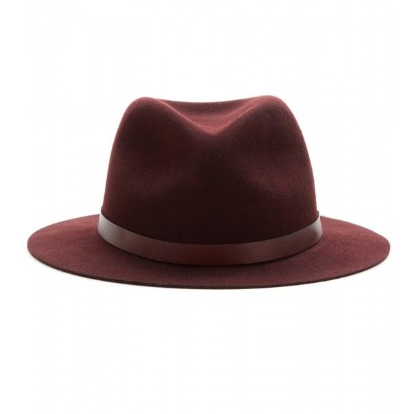 Rag & Bone Abbott Wool Fedora ($195) ❤ liked on Polyvore featuring accessories, hats, red, woolen hat, red fedora hat, red fedora, rag & bone hat and rag & bone