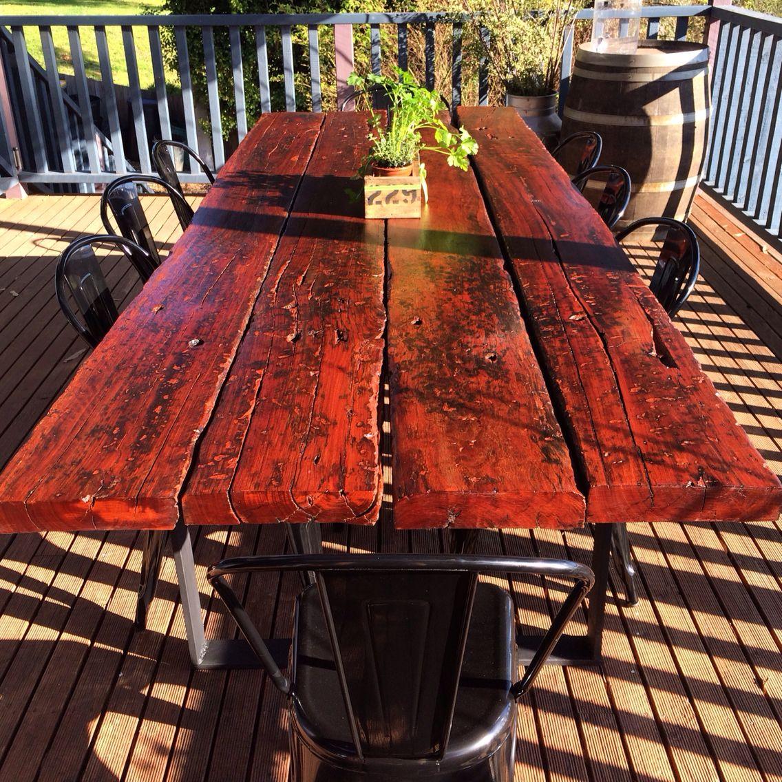 Rustic redgum train sleeper outdoor table