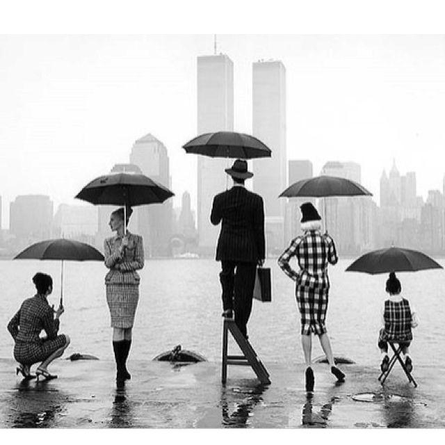umbrellas, cityscape