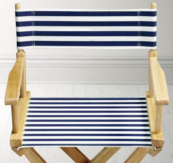 Directors Chair Striped Canvas Seat and Back in navy only