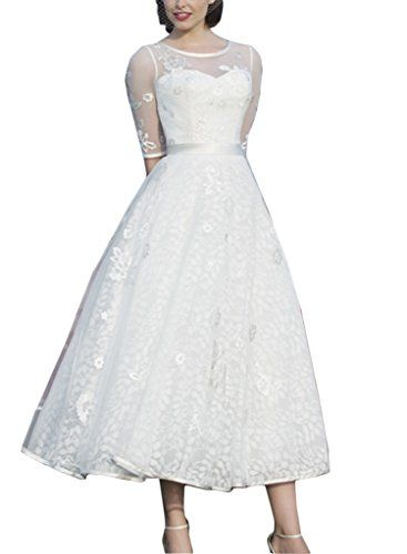Bettertime Womens ALine Lace Half Sleeve Tea Length Wedding Dresses -- Want to know more, click on the image.
