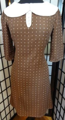 50's 60's Pinup Style Mad Men Brown Polka Dot Dress Pearl Buttons - M, $45 includes shipping