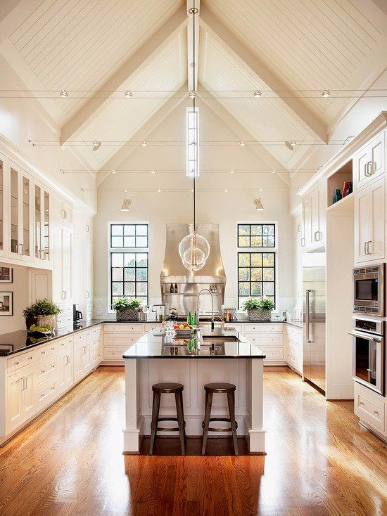 Elegant Kitchen Design Ideas With Pitched Roof Home Kitchens Beautiful Kitchens Sweet Home