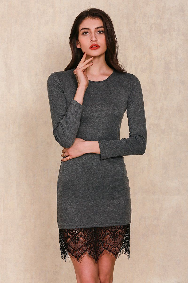 Elegant black lace gray bodycon dress evening party long sleeve