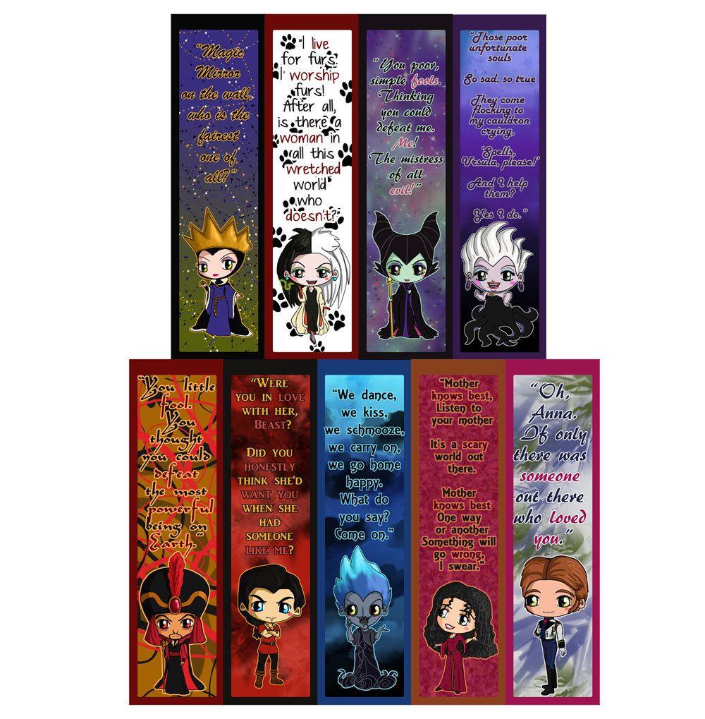 disney villains chibi bookmarks maleficent the evil queen ursula cruella de vil